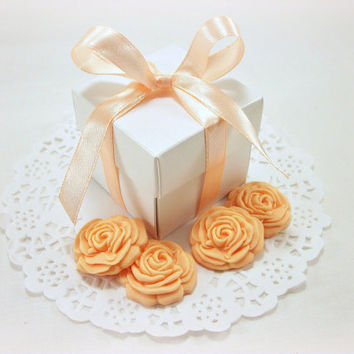 Wedding Favor Candy Boxes AND 50 Edible Sugar Flowers, Bridal Shower Favor, Baby Shower, Wedding Gift Box, Party Favor, DIY Peach Favor