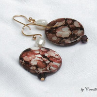 14K Gold Earrings with Brown Shell Beads, Crystals, White Pearls READY to SHIP