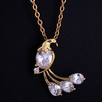 18k gold ladies fashion charm peacock zircon necklace pendant with free shipping