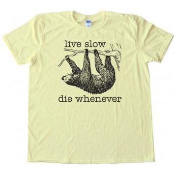 Live Slow Die Whenever Sloth Custom Men's Gildan Adult T-Shirt
