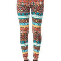 Tribal Print Faux Nubuck Leggings