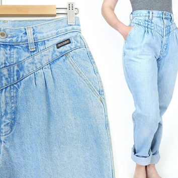 Vintage 80s 90s High Waisted Pleated Mom Jeans - Size 10 LONG - Baggy Tapered V Yoke Waist Blue Women's Rockies Jeans - 29 Waist