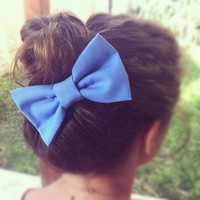 Blue bow BIG hair bow