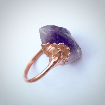 Raw Amethyst Ring | Copper Crystal Ring | Purple Crystal Ring | Electroformed Crystal Ring
