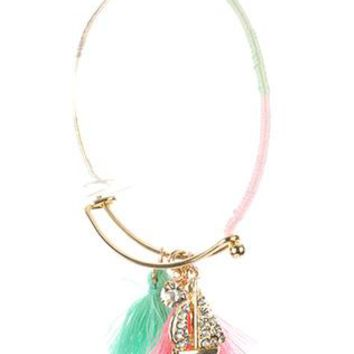 Sailboat Tassel Charm Metal Wire Bangle Crystal Stone Color Yarn Wrapped Braclet