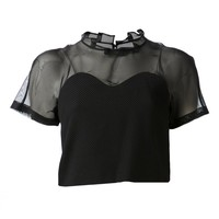 AULA AILA - Sheer Sweetheart Top - 1141-04054 BLACK - H. Lorenzo