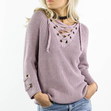Longer Nights Dusty Mauve Knit Sweater