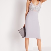 Missguided - Embroidered Bust Detail Bodycon Dress Ice Grey