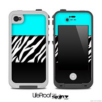 Three-Toned Turquoise Vector Zebra V3 Skin for the iPhone 5 or 4/4s LifeProof Case