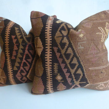 Brown Ethnic Kilim Pillow Set