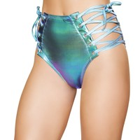Holographic Rave High Waist Shorts
