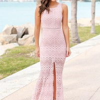 Mauve Lace Maxi Dress with Side Slit