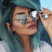Large Oversized Cat Eye Sunglasses SEMI-RIMLESS Flat Mirror Lens Women Fashion