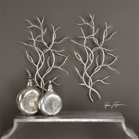 Uttermost Silver Branches Wall Art S/2