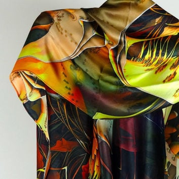 "Large Rectangular Silk Satin Scarf - ""Interlaced"" Design,  Fashion scarves, Large Scarf, Ladies Scarves"
