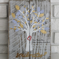 Handmade Hand Painted Tree of Love Soulmates Wedding or Anniversary Wood Sign Customizable