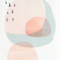 A3 Abstract Modern Danish Art Print CIRCLES 2- Light Peach version - Fine Art Giclee Print