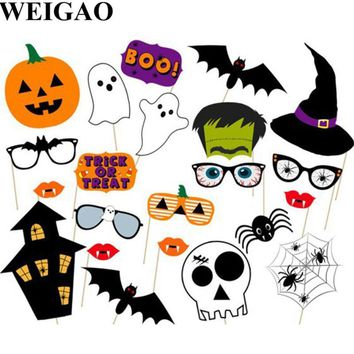 WEIGAO 22Pcs Halloween Party Photo Booth Props Spooky Pumpkins Witch Bat Ghost Photobooth Props Kids Happy Halloween Party Decor