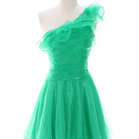 Green Homecoming Dresses, One Shoulder Cocktail Dress, Women's Short Formal Dress from Sung Boutique Los Angeles