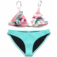 Retro Floral Swimsuit Neoprene Triangle Bikini Set Bathing Suit