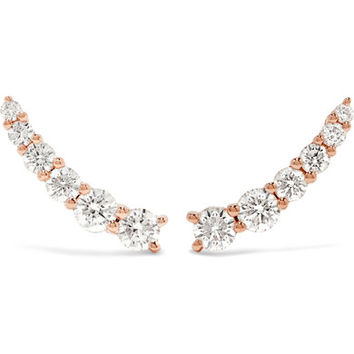 Anita Ko - Floating 18-karat rose gold diamond earrings