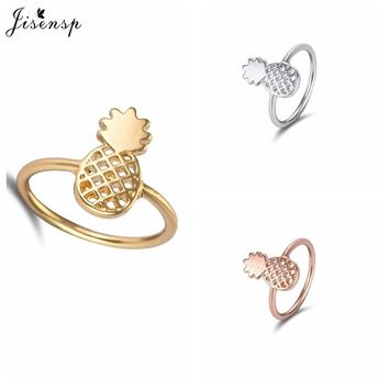 Jisensp 2017 New Fashion Cute Ring Pineapple Simple Funny Outline Fruit Rings Lovely Rings Women Jewelry Girl Party Gift Anillos