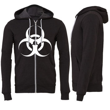 Biohazard Caution Zipper Hoodie