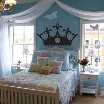 Princess Crown headboard - Girl Nursery Baby princess decal, Kids Room Decal, Living room, master bedroom, children, tiara, queen crown wall