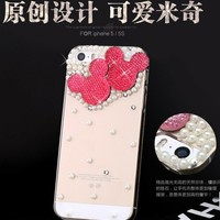 New Chic Cute Mickey Heads Bling Rhinestones Pearls Mobile Cell Phone Case Cover for iPhone 4s 5s 6 plus samsung - Casemoda | Pinkoi