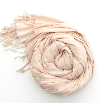 Nude Pink Scarf Pastel Scarf hand dyed Blush color