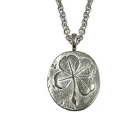 Oval Four Leaf Clover Pendant Necklace