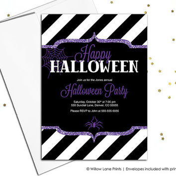 Adult halloween party invitations in black and purple - printable 4x6 or 5x7 or printed