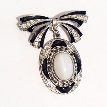 Victorian Revival Bow Brooch, Rhinestone Pin, Black, White, 1950s Vintage Jewelry