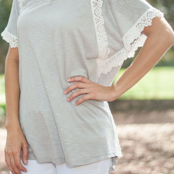 Enlightened With Lace Top, Gray