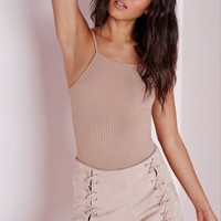 Missguided - High Neck Ribbed Top Taupe