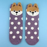 Adorable Shiba Inu Puppy Face With Polka Dots Pattern Cotton Socks in Purple | DOTOLY