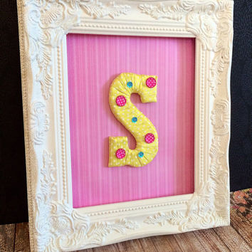 Baby Girl Nursery-Custom Made Monogram in Frame by Tightly Wound Designs