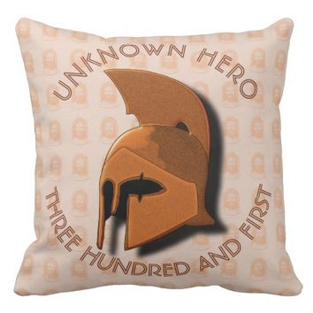 Unknown Spartan 301th Hero Greek Helmet Throw Pillow
