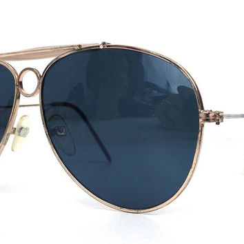 vintage 80's deadstock aviator sunglasses gold metal frames black lenses sun glasses eyewear oversized men women retro beige browline 143