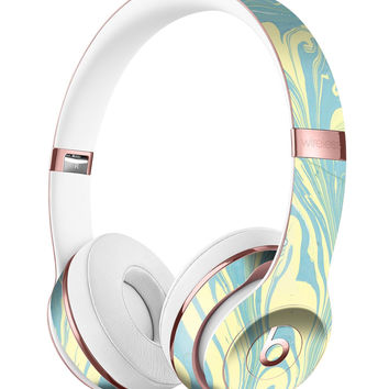 Marbleized Swirling Mint and Yellow Full-Body Skin Kit for the Beats by Dre Solo 3 Wireless Headphones