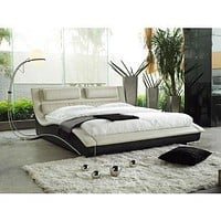 Queen size Modern Curvy Upholstered Platform Bed with Headboard in Cream Black Faux Leather