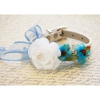 Floral Dog Collar with white and blue flowers, floral Wedding ideas