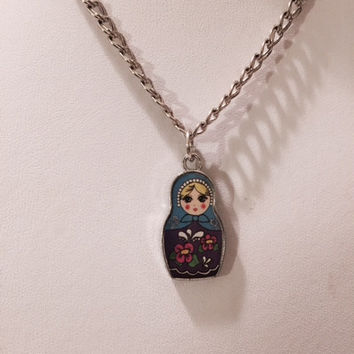 Russian Nesting Doll Necklace, Nesting Doll, Charm Necklace, Silver Jewelry, Enamel Charm, Best Friend Necklace, Girls Jewelry, Holiday Gift