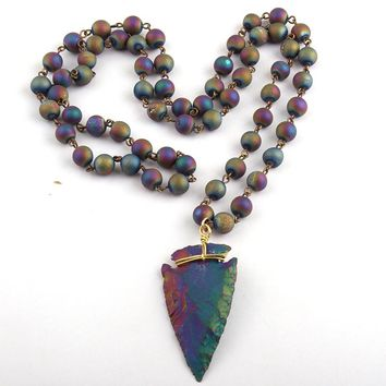 Free Shipping Rosary Chain Natural Druzy Bead & Stone Arrowhead Pendant Necklaces
