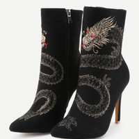 Dragon Embroidery High Heeled Ankle BootsFor Women-romwe
