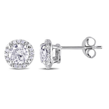 5.0mm Lab-Created White Sapphire and Diamond Accent Frame Stud Earrings in Sterling Silver