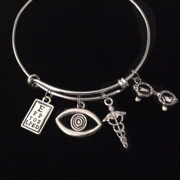 Optometrist Eye Doctor Silver Expandable Charm Bracelet Adjustable Bangle Trendy Gift