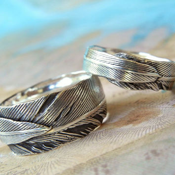 Feather Wedding Rings Eco Friendly Jewelry by HappyGoLicky on Etsy