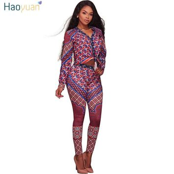 HAOYUAN Two Piece Rompers Womens Jumpsuit 2017 Autumn Full Sleeve Deep-V Bodycon Leotard Floral Long Trousers Overalls Jumpsuit