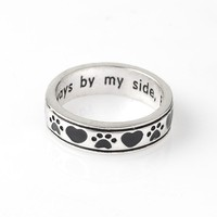 Dog paw footprints Animal Unisex Pet Ring